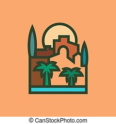 City building palm sun trees vector illustration of a city in quality