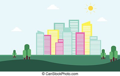 City building scenery of silhouette