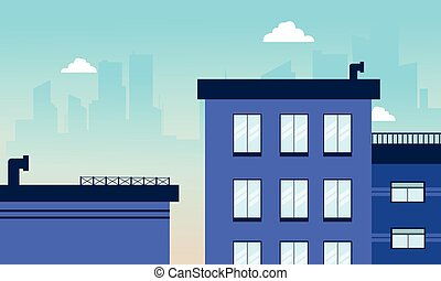 City building skyline of vector illustration