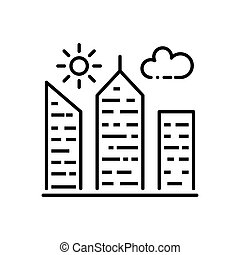 City Building Thin Line Vector Icon