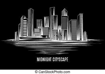 City building, urban cityscape - Urban midnight cityscape....