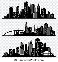 City building vector silhouettes, urban vector skylines set