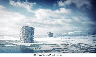 City Buildings After Ice Caps Melt - City tower blocks...