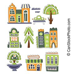 City Buildings And Other Elements Creative Design Collection
