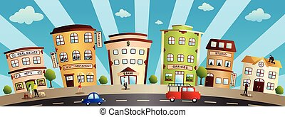 City Buildings and Shops Cartoon Illustration