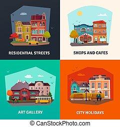 City Buildings Concept Icons Set
