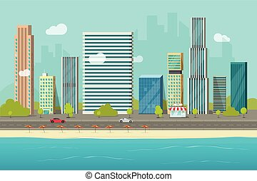 City buildings from sea beach view vector illustration, flat cartoon high city skyscraper buildings on seafront, modern town landscape, urban cityscape or shore coast cityscape clipart