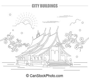 City buildings graphic template. Laos. Luang Prabang. Vector...