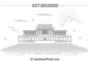City buildings graphic template. North Korea. Mosque. Vector...
