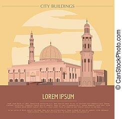 City buildings graphic template. Oman. Muscat mausoleum....