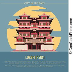 City buildings graphic template. Singapore. Buddha`s tooth Temple. V