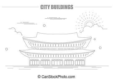 City buildings graphic template. South Korea. Shining...