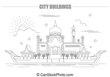 City buildings graphic template. Sultan Omar mosque. Brunei....
