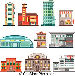 City Buildings Icon Set