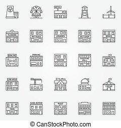 City buildings icon vector set
