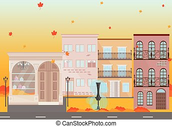 City buildings in Autumn season Vector background