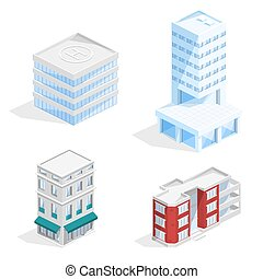 City buildings isometric 3D vector illustration