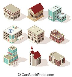 City Buildings Isometric Icons Set