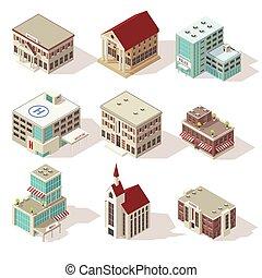 City Buildings Isometric Icons Set