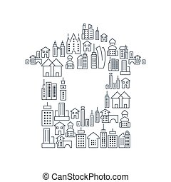 City Buildings Lined Icons Set