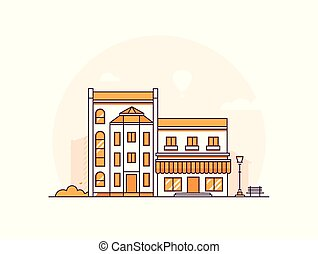 City buildings - modern thin line design style vector...