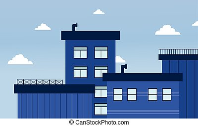 City buildings of flat vector illustration