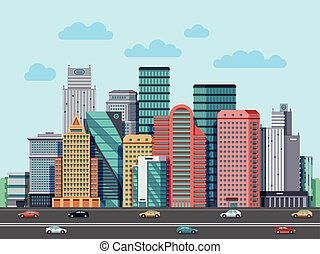 City buildings panorama. Urban architecture vector cityscape background