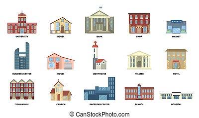 City buildings set.
