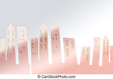 City buildings skyline cut out from paper