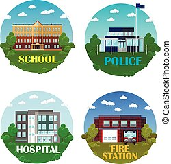 City buildings vector icon set in flat style. Design elements and emblems. School, police department, hospital, fire station