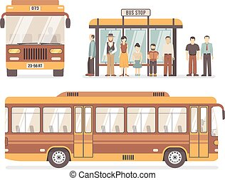 City Bus Stop Flat Icons