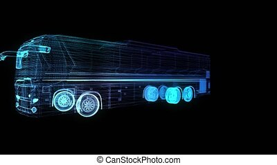 City bus. Truck. Glow points and line formation of 3d Model...