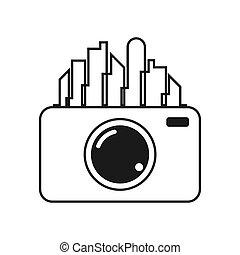 City camera icon design template vector illustration