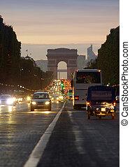 city., campeones, parís, foto, de, escena, largo, tráfico, arco, calle, elysees, ocaso, boulevard., triomphe, exposición