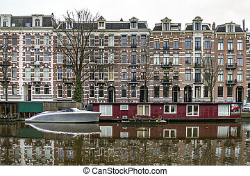 City canals morning winter view