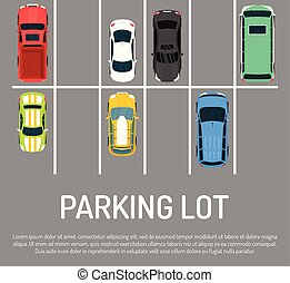 City car parking vector illustration. Top view of parking zone with a variety of cars. Parking garage with free places in flat style banner, poster. Parking lots for vehicles.