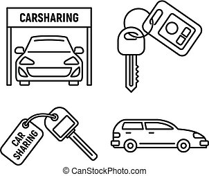 City car sharing icons set, outline style