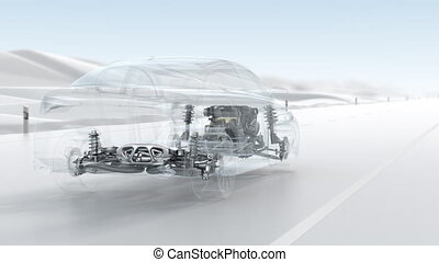 City car structure overview during driving.
