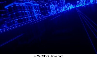 City car Wireframe View - conceptual - high quality 3d...