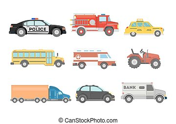 City cars set. Police and school bus, truck and ambulance.