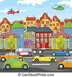 City Cartoon. - City Cartoon with Traffic. Vector...
