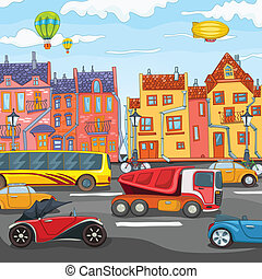 City Cartoon. - City Cartoon with Traffic. Vector ...