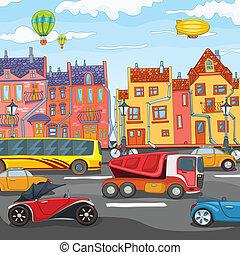 City Cartoon. - City Cartoon with Traffic. Vector ...