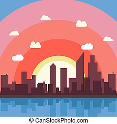 City cartoon vector background illustration view wallpaper.