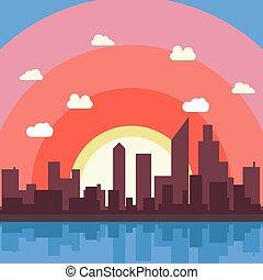 City cartoon vector background illustration view wallpaper