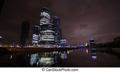 City center - high-rise office in downtown Moscow time laps