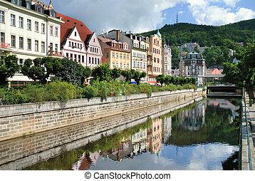 City center in Karlovy Vary. Czech Republic