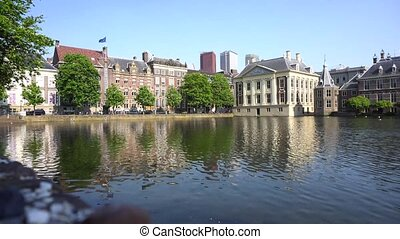 city center of Den Haag - Mauritshuis and pond, Netherlands