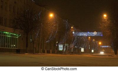 City center of Velikiy Novgorod in Russia. Night new year's...