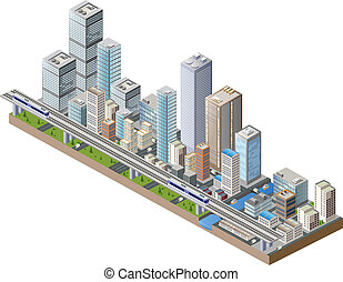 Vector isometric city center on the map with lots of buildings, skyscrapers, factories, and parks